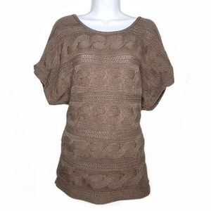 Express Knit Coffee Brown Batwing Short Sleeve Top